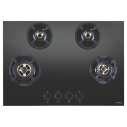 Elica 4 Burner Glass Built-in Gas Hob (Round Cast-Iron Grids, Classic Flexi FB MFC 4B 75 MT, Black)_1