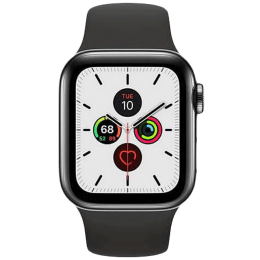 Apple Watch Series 5 (GPS + Cellular, 40 mm) Space Black Stainless Steel Case with Black Sport Band (MWX82HN/A)_1