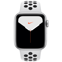 Apple Watch Series 5 (GPS + Cellular, 40 mm) Silver Aluminium Case with Pure Platinum/Black Nike Sport Band (MX3C2HN/A)_1