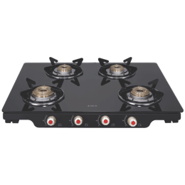 Elica Patio ICT DT 469 4 Burners Glass Gas Stove (Round Euro Coated Grids, Black)_1