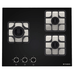 Faber Imperia 603 BRB CI 3 Burner Toughened Glass Built-in Gas Hob (Cast Iron Pan Supports, 106.0581.645, Black)_1