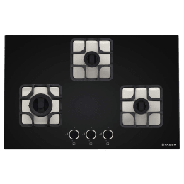 Faber Imperia 783 BRB CI 3 Burner Toughenend Glass Built-in Gas Hob (Cast Iron Pan Supports, 106.0581.647, Black)_1