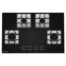 Faber Imperia 784 BRB CI 4 Burner Toughenend Glass Built-in Gas Hob (Cast Iron Pan Supports, 106.0581.648, Black)_1
