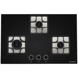 Faber Imperia Plus 783 BRB CI 3 Burner Glass Built-in Gas Hob (Cast Iron Pan Supports, 106.0581.651, Black)_1