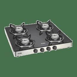 Glen 4 Burners Toughened Glass Gas Stove (Sturdy Pan Supports, GL 1043 GT, Black)_1