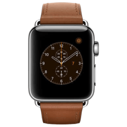 Apple Watch Series 2 Smartwatch (GPS, 38mm) (Ambient Light Sensor, MNP72HN/A, Black/Saddle Brown, Leather Band)_1