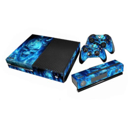 Elton Fire Theme Skin Sticker Cover for Microsoft Xbox One Console/Kinect and Controllers (EL00097, Blue)_1