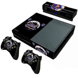 Elton Mets Baseball MLB Theme Skin Sticker Cover for Microsoft Xbox One Console/Kinect and Controllers (EL000102, Black)_1