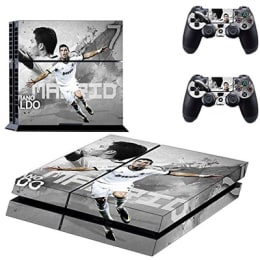 Elton CR7 Cristiano Ronaldo Theme Skin Sticker Cover for Sony PS4 Console and Controllers (EL00044, Grey)_1