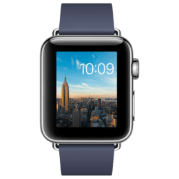 Apple Watch Series 2 Smartwatch (GPS, 38mm) (Ambient Light Sensor, MNP92HN/A, Black/Midnight Blue, Leather Band with Modern Buckle)_1