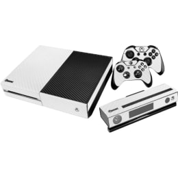 Elton Carbon Fiber Theme Skin Sticker Cover for Microsoft Xbox One Console/Kinect and Controllers (EL00080, White)_1