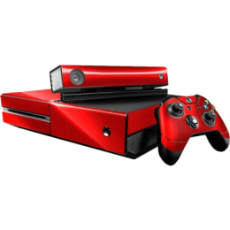 Elton Carbon Fiber Theme Skin Sticker Cover for Microsoft Xbox One Console/Kinect and Controllers (EL00081, Red)_1