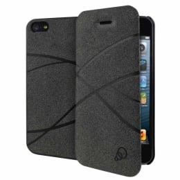 Cygnett Flip Fiber Leather Flip Case Cover for Apple iPhone 5/5S (CY1233CPFIB, Grey)_1