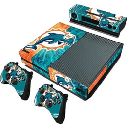 Elton Miami Dolphins Theme Skin Sticker Cover for Microsoft Xbox One Console/Kinect and Controllers (EL000105, Teal/Orange)_1