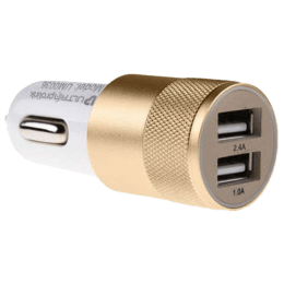 Ultraprolink 100 cm Dual USB (Type-A) to Micro USB Car Charger and Cable (UM0036WG, White/Gold)_1
