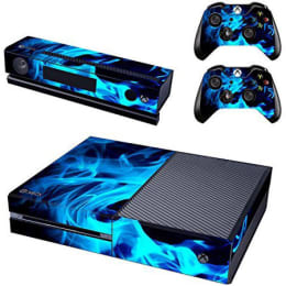 Elton Fire Flame Theme Skin Sticker Cover for Microsoft Xbox One Console/Kinect and Controllers (EL00098, Blue)_1