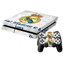 Elton Real Madrid Theme Skin Sticker Cover for Sony PS4 Console and Controllers (EL00058, White/Yellow)_1