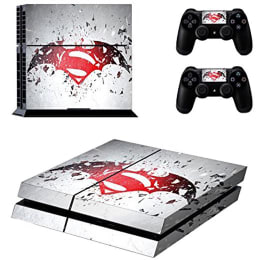 Elton Batman v/s Superman Theme Skin Sticker Cover for Sony PS4 Console and Controllers (EL00055, Red/White)_1