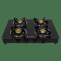 Faber 4 Burner Steel Gas Stove (Grand 4BB BK, Brass Burner, Black)_1