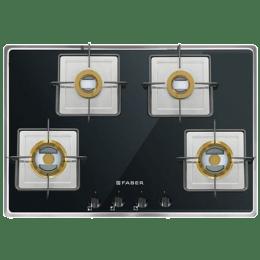 Faber Fusion 4 Burner Glass Built-in Gas Hob (Auto Ignition, 724 CRX BR CI, Black)_1