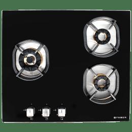Faber Nexus 3 Burner Toughened Glass Built-in Gas Hob (Brass Burner, INDHT603, Black)_1