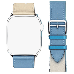 Robobull Buckle Closure 38/40 mm Double Tour Leather Apple Watch Strap (3770000091, Sky)_1