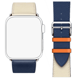 Robobull Buckle Closure 38/40 mm Double Tour Leather Apple Watch Strap (3770000090, White/Blue)_1