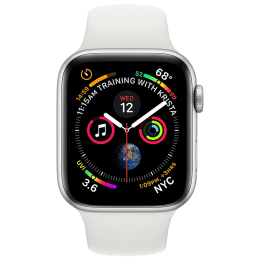 Apple Watch Series 4 (GPS + Cellular) 4.0 cm Silver Aluminum Case with White Sport Band_1