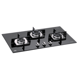 Glen 3 Burner Toughened Glass Built-in Gas Hob (Integrated Auto Ignition, 1073 SQ IN, Black)_1
