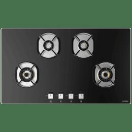 Faber Nexus 4 Burner Toughened Glass Built-in Gas Hob (Brass Burner, IND HT904, Black)_1