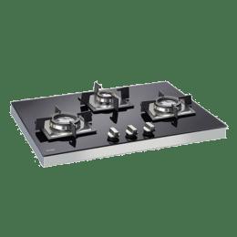 Glen 3 Burner Toughened Glass Built-in Gas Hob (High Precision Gas Valve, Gl 1073 SQDB, Black)_1