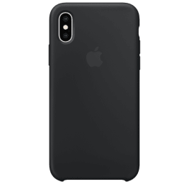 Apple iPhone XS Silicone Back Case Cover (MRW72ZM/A, Black)_1