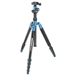 Manfrotto 164 cm Height Traveller Tripod Big with Ball Head (MKELEB5BL-BH, Blue)_1