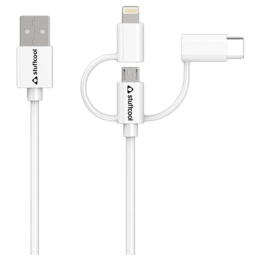 Stuffcool 150 cm USB (Type-A) to Lightning + Micro USB + USB (Type-C) Sync and Charge Cable (TRES-WHT, White)_1