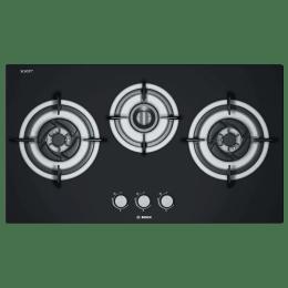 Bosch Serie 4 3 Burner Tempered Glass Built-in Gas Hob (Safety Gas Valve, PBD7331MS, Black)_1