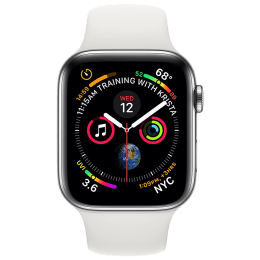 Apple Watch Series 4 (GPS + Cellular) 4.0 cm Stainless Steel Case with White Sport Band_1