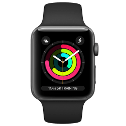 Apple Watch Series 3 Smartwatch (GPS, 42mm) (Ambient Light Sensor, MTF32HN/A, Space Grey/Black, Sport Band)_1