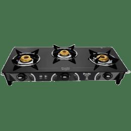 Preethi Zeal 3 Burner Glass Gas Stove (High efficiency Tri-pin Burners, 3BZeal, Black)_1