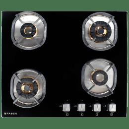 Faber Nexus 3 Burner Toughened Glass Built-in Gas Hob (Brass Burner, INDHT604, Black)_1