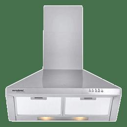 Eurodomo Sapphire 850 m³/hr 60cm Wall Mount Chimney (Push Button, PB SS 60, Silver)_1