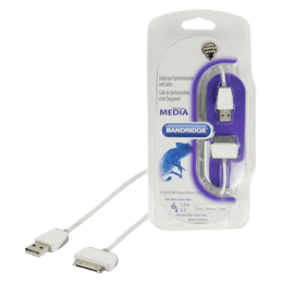 Bandridge 100 cm USB (Type-A) to 30 Pin Apple Sync & Charge USB Cable (BBM39100W10, White)_1