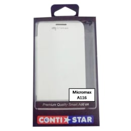 ContiStar PU Leather Flip Case Cover for Micromax A116 (White)_1