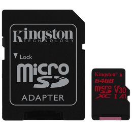 Kingston Canvas React 64GB Class 10 UHS-I Micro SDXC Card (100 MB/s Read Speed, SDCR/64GBIN, Black)_1