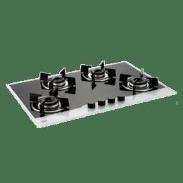Glen 4 Burner Toughened Glass Built-in Gas Hob (High Precision Gas Valve, Gl 1074 IN BW, Black)_1