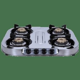 Elica 4 Burner Stainless Steel Gas Stove (Brass Burner, INOX 604 SS, Silver)_1