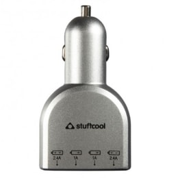 Stuffcool Voyage 6.8 Amp 4 Port Car Charging Adapter (CAVGE2-SIL, Silver)_1