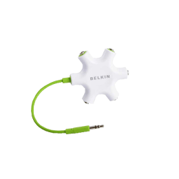 Belkin Rockstar 3.5mm Stereo to 3.5mm Multi Headphones Splitter (White/Green)_1