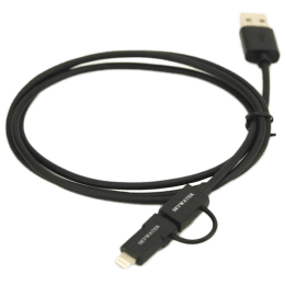 Skywater 100 cm USB (Type-A) to Lightning + Micro USB Cable (SW411/412/413, Black)_1