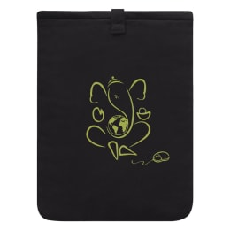 Clean Planet Canvas Quotient Ganesha Charm Jute Sleeve For 15 Inch Laptop (Magnetic Closure, CP_COVERS_LAPTOP_G, Black)_1