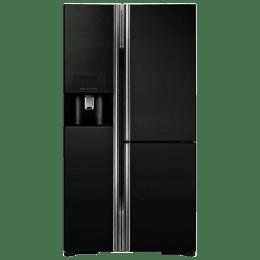 Hitachi 651 L Frost Free Side by Side Inverter Refrigerator (RM700GPND2, Glass Black)_1